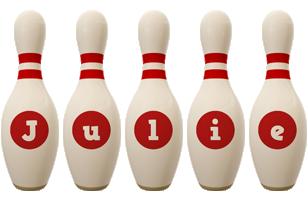 Julie bowling-pin logo