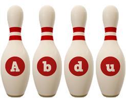 Abdu bowling-pin logo
