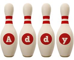 Addy bowling-pin logo