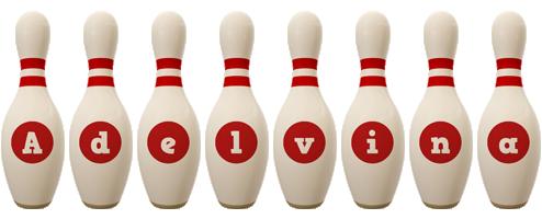 Adelvina bowling-pin logo