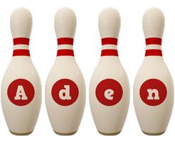 Aden bowling-pin logo