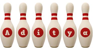 Aditya bowling-pin logo