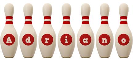 Adriano bowling-pin logo