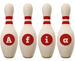 Afia bowling-pin logo