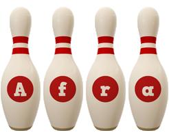 Afra bowling-pin logo