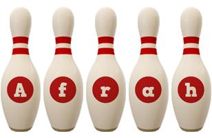 Afrah bowling-pin logo