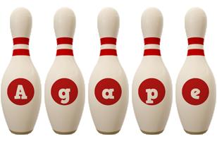Agape bowling-pin logo