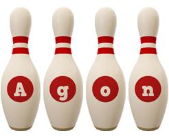Agon bowling-pin logo