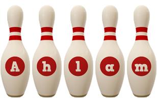 Ahlam bowling-pin logo