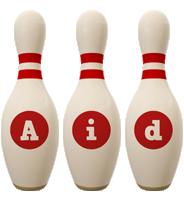Aid bowling-pin logo