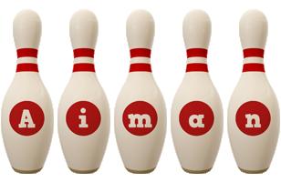 Aiman bowling-pin logo