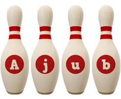 Ajub bowling-pin logo