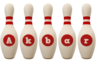 Akbar bowling-pin logo