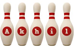Akhil bowling-pin logo