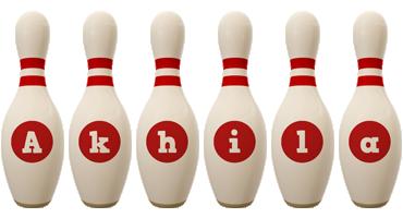 Akhila bowling-pin logo