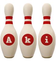 Aki bowling-pin logo