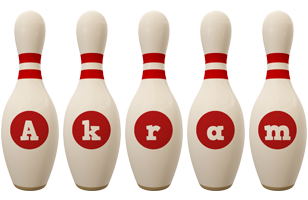 Akram bowling-pin logo