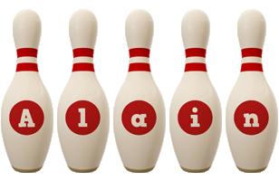 Alain bowling-pin logo