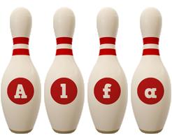 Alfa bowling-pin logo