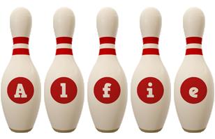 Alfie bowling-pin logo