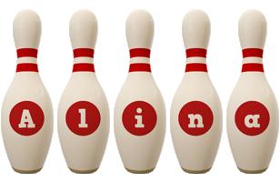 Alina bowling-pin logo