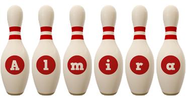 Almira bowling-pin logo