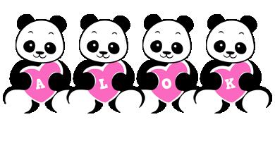 Alok love-panda logo