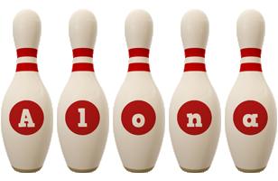 Alona bowling-pin logo