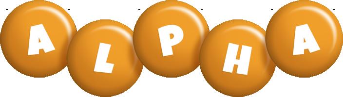 Alpha candy-orange logo