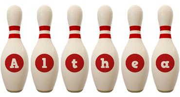 Althea bowling-pin logo