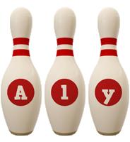 Aly bowling-pin logo