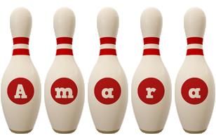 Amara bowling-pin logo