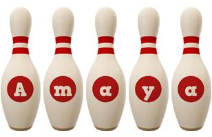 Amaya bowling-pin logo