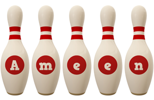 Ameen bowling-pin logo