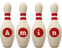 Amin bowling-pin logo