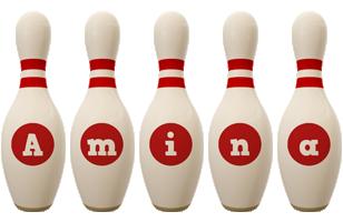 Amina bowling-pin logo
