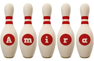 Amira bowling-pin logo
