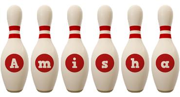 Amisha bowling-pin logo