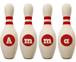 Amma bowling-pin logo