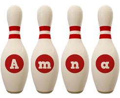 Amna bowling-pin logo
