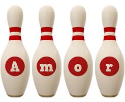 Amor bowling-pin logo