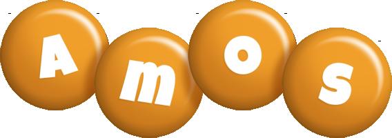 Amos candy-orange logo