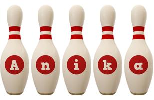 Anika bowling-pin logo