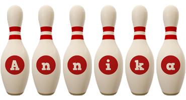 Annika bowling-pin logo