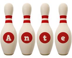 Ante bowling-pin logo