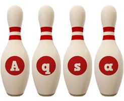 Aqsa bowling-pin logo