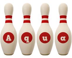 Aqua bowling-pin logo