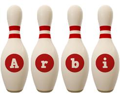 Arbi bowling-pin logo