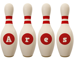 Ares bowling-pin logo