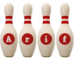 Arif bowling-pin logo